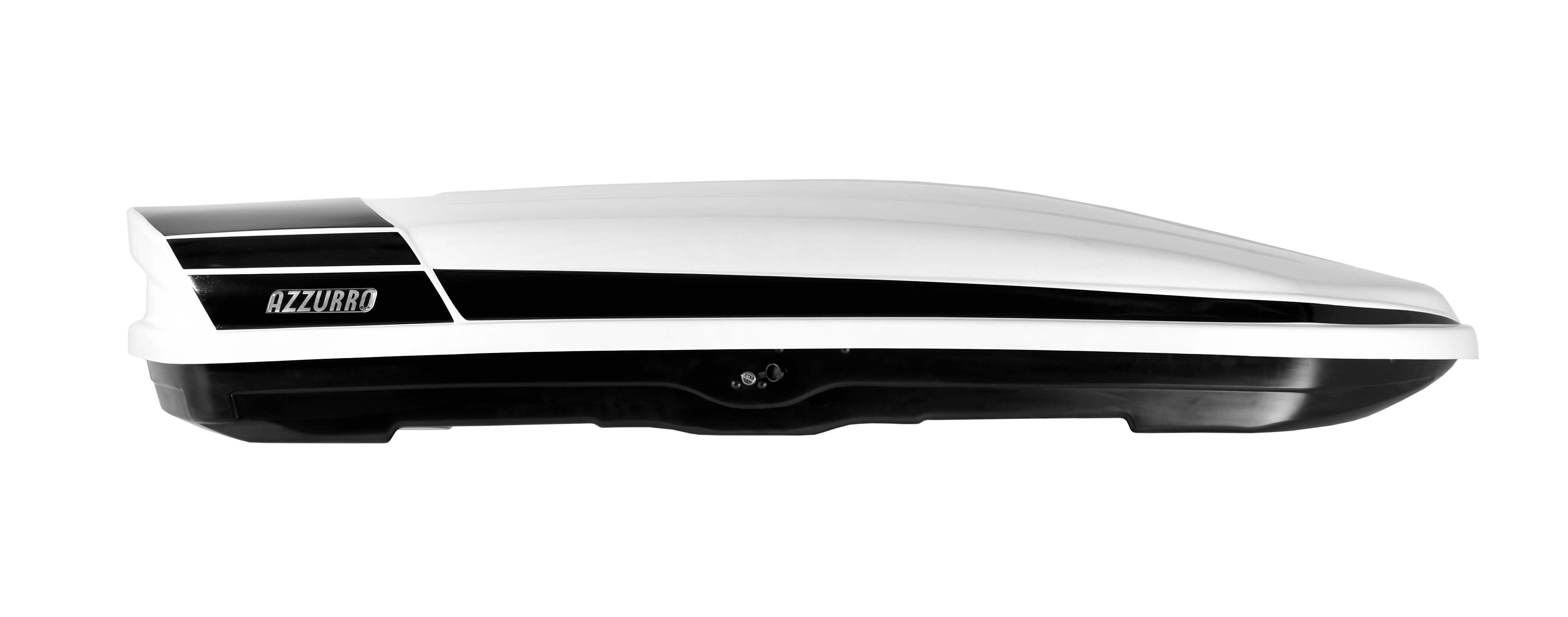 AzzurroBox BIG! Fehér Magasfényű tetőbox Fekete Csíkkal